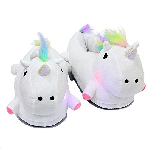 Einhorn Luminous Plüsch Hausschuhe Damen Erwachsene Mädchen Kinder Nette Einhorn Innen Slip Hausschuhe Größe: 35-43 Weiß