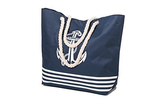 Borsa da spiaggia Womens Grande Estate Canvas Tote Bags Rope Handle Anchor modello Airee Fairee Blu navy