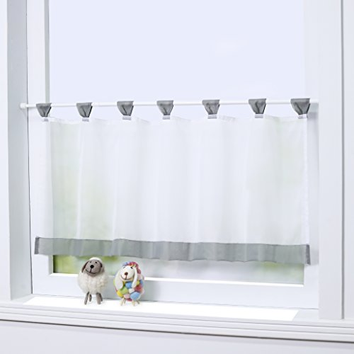 """Joyswahl Bistrogardine Voile Schlaufen Scheibengardine \""""Mia\"""" Küchen Transparenter Vorhang HxB 45x90cm Grau 1er Pack"""