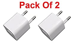 White Universal EU Plug USB AC Power Adapter Wall Charger For iPhone 4 4S 5 5S 6 6Plus Samsung, Moto, Lenovo, Xiaomi, Microsoft, Lava - Pack of 2