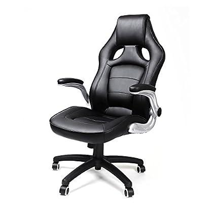 Songmics Silla giratoria de oficina Silla de escritorio Racing negro Recubrimiento de PU Reposabrazos ajustable OBG62B