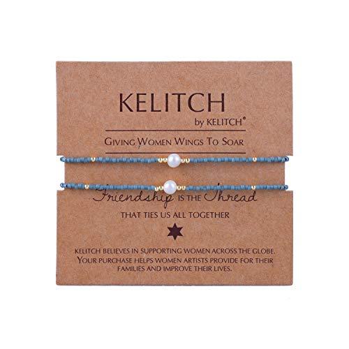 KELITCH Armband Frauen Männer Japanisch Rocailles Perlen 2 Pcs Freundschaftsarmbänder Shell Perle Einstellbar Handarbeit Armbänder Damen Herren Paar Armband ()