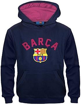 FC Barcelona - Sudadera oficial con capucha - Para niño - Con el escudo del club - Forro polar