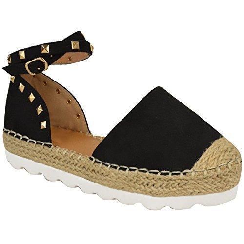 Nuovo Da Donna Espadrillas Alla Caviglia Sandali Con Cinturino Rock Borchia Taglia Scarpe Estative nero camoscio sintetico / color oro borchie