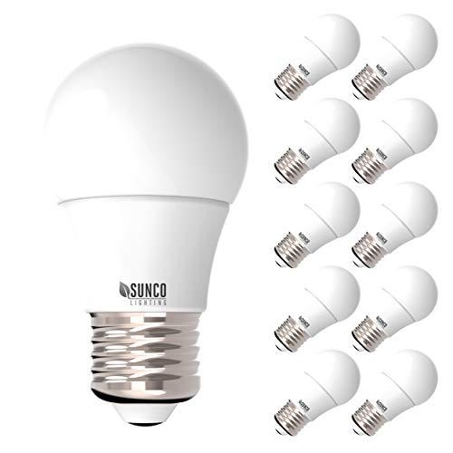 Suncase 10 Pack - Energy Star A15 LED-Leuchtmittel, 8 W, 60 W Eqvlcy, E26, 800 Lumen, nicht dimmbar, 240 Abstrahlwinkel, Dekorative Beleuchtung, UL, 3000 K Warmweiß -
