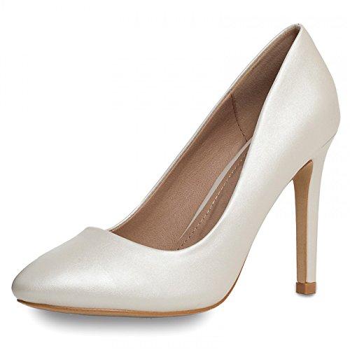 CASPAR Damen Klassische High Heels / Pumps mit hohem Absatz und klassisch eleganter Spitze - viele Farben - SBU006, Farbe:perlmutt;Größe:EU40/US9
