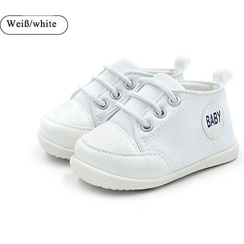 Baby Schuhe Segeltuch,Turnschuh Schuhe Kinder Bequem SüßE Breathable Baby-Leinwand-Anti Skid Weicher Schuhe temperament fashion (L:(9-12Monate), Weiß)
