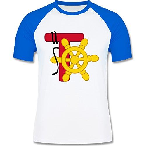 Anfangsbuchstaben - T Schifffahrt - zweifarbiges Baseballshirt für Männer Weiß/Royalblau