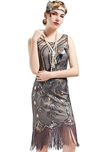 ArtiDeco 1920s Kleider Damen Pfau Muster Knielang Vintage Abendkleid 20er Jahre Flapper Damen Gatsby Kostüm Kleid (Grau, XL)