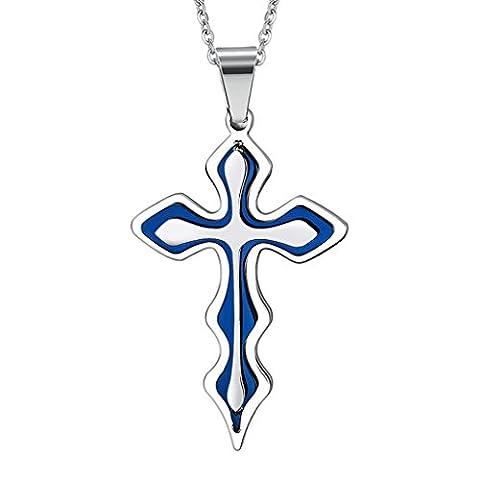 Daesar Edelstahl Anhänger Herren Kreuz Anhänger Halskette Blau Kette (Swarovski Sapphire Kreuz)