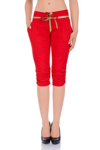 Laeticia Dreams Damen Chino Hose Knielang S M L Rot