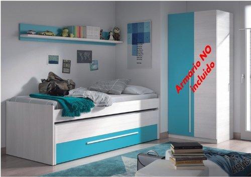 Habitdesign 0A7438K - Cama nido juvenil dos camas y un cajón, color Blanco Line y Azul, dimensiones: 200cm (ancho) x 69cm (alto) x 96cm (fondo)