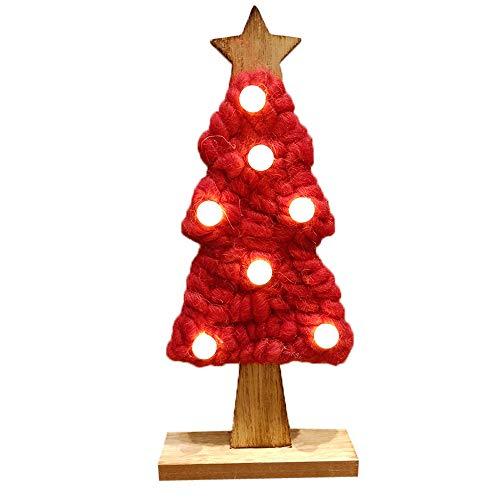 BESSKY LED Felt Christmas Tree Christmas Gifts For 2019 New Year Xmas Decor Home Weihnachtsverzierung, Weihnachtsbaum, Filzbaum, rot -