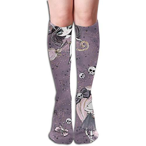 Halloween-bezaubernder Schädel funkelt Kürbis-bequeme erwachsene kniehohe Socken-Turnhallen-im Freiensocken 50cm 19.7inch