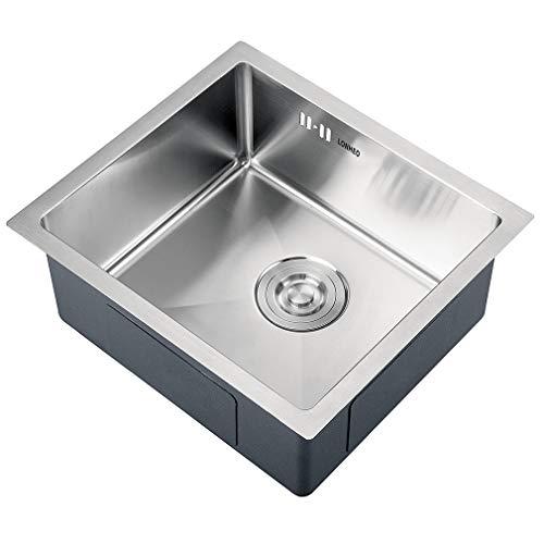 Lonheo Évier de Cuisine 1 Bac 45x40cm Évier Inox Anti-rouille Évier en Acier Inoxydable 304 pour...