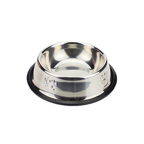 POPETPOP Durable Pet Food Bowl Feeder, Edelstahl Futternapf mit Pfotenabdruck, Futternapf Schale für Hund und Katze - 33cm