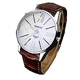 Watches for Men, Winkey Luxury Fashion Leather Mens Glass Quartz Analog Wristwatch Watches, Hot Sale! (Brown A)