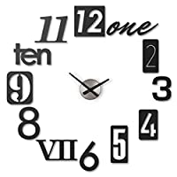 Umbra, Black Numbra Modern DIY 3D, Easy to Paste Sticker Numbers, Frameless Large Decorative Wall Clock