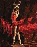 YEESAM ART Malen Nach Zahlen erwachsene - ballett tanzen tänzerin, Tänzer im Feuer 16x20 Zoll Leinen Segeltuch - DIY ölgemälde ölfarben Weihnachten Geschenke