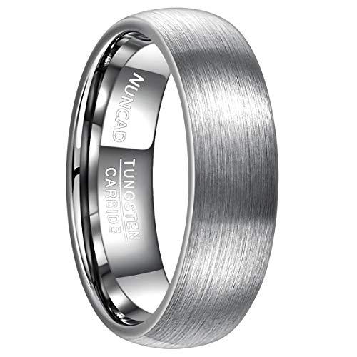Nuncad Herren Ring Silber 7 mm aus Wolfram, Unisex Fashion Ring für Alltag, Geburtstag, Hobby und Hochzeit, Größe 65