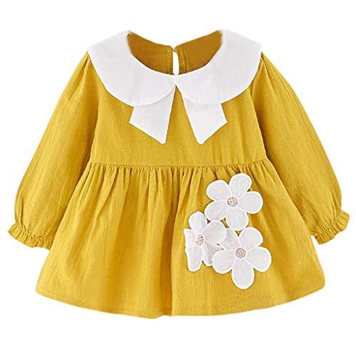 YUAN Mädchen Kleid, Kinder Kinder Lange Ärmel Blume Dance Party Prinzessin ()