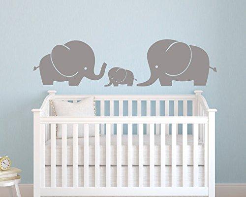 Elefant Family Wandtattoo Aufkleber–Wandsticker Elefant–Kinderzimmer Wandtattoo Aufkleber–Baby Kinderzimmer Decor–Elefanten Aufkleber Vinyl Wand Aufkleber (Vinyl-wand-aufkleber-elefant)