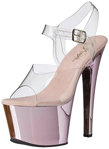 Pleaser Sky308/c/hpch, Damen Sandalen, Clr/B. Pink Chrome, 44 EU (11 UK) Chrome High Heel