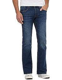 Red Herring Men Dark Blue Mid Wash Bootcut Jeans
