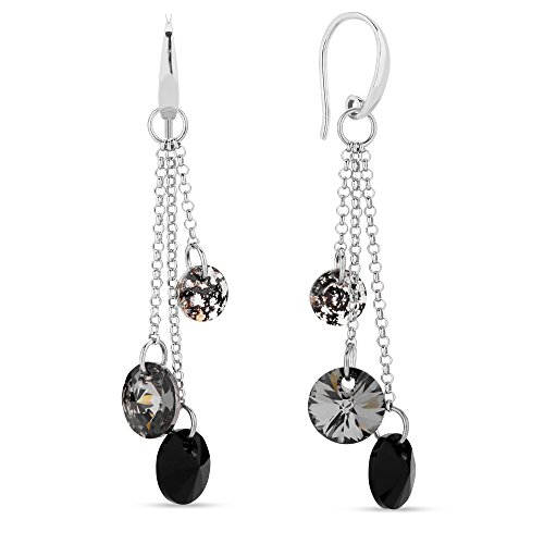 Swarovski Elements leichter Damen Ohrring lang hängend multicolor Grau und schwarz, Silber 925, by Spark