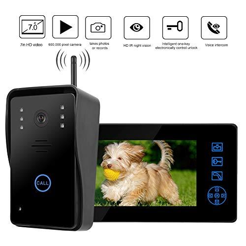 Bewinner Campanello Video 7 Pollici, 2.4G HD Videocitofono Senza Fili con Visione Notturna, Sistema di Sicurezza Impermeabile Citofono Wireless Esterno Supporto per Scattare Foto Automaticamente