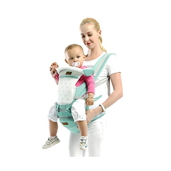 SONARIN 3 in 1 Multifunction Hipseat Baby Carrier,Ergonomic,Mummy Bag,100% Cotton,Breathable mesh Backing,Adapted to Your Child's Growing,Cozy & Soothing for Babies,Ideal Gift(Green) SONARIN Applicable age and Weight:0-36 months of baby, the maximum load: 36KG, and adjustable the waist size can be up to 45.3 inches (about 115cm). Material:designers carefully selected soft and delicate 100% cotton fabric. Resistant to wash, do not fade, External use of 3D breathable mesh,15mm soft cushion,to the baby comfortable and safe experience. 30mm sponge filled, effectively relieve mother's abdominal pressure. Description:patented design of the auxiliary spine micro-C structure and leg opening design, natural M-type sitting. Removable backplane, hold the baby back, perfect support horizontal hold.The baby carrier and the hipseat junction have a protective pad,intimate design, so that your baby more comfortable. 2