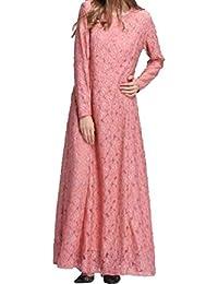Hohun Vestido Maxi Kaftan islámico Color árabe musulmán de Encaje ...
