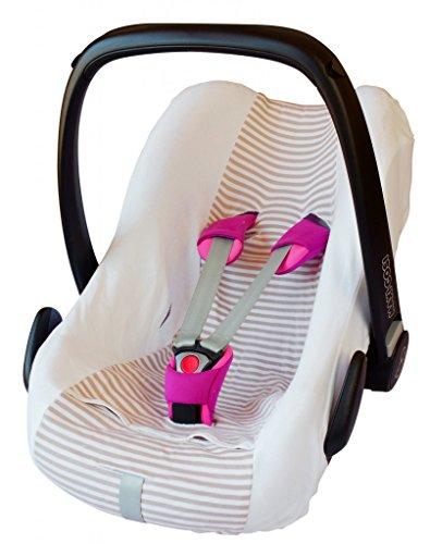 ByBoom®–Funda de verano 100% de algodón, funda universal para capazo o silla coche (Maxi-Cosi CabrioFix, Pebble, City SPS), Color blanco/rayas beige