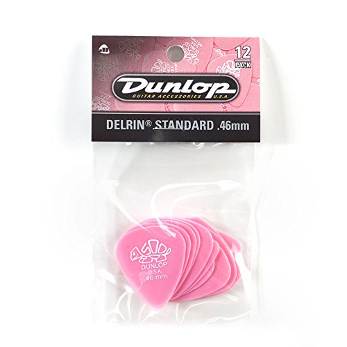Gitarren-saiten Rosa (Dunlop DL P 0095 41P.46 Delrin 500 Standard Players Pick (12 Stück) hell rosa)
