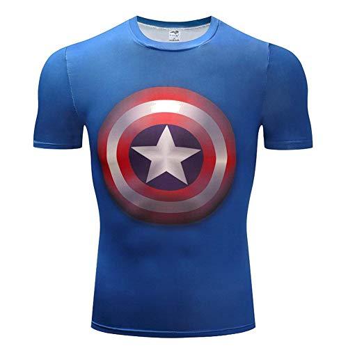 XiangYu Fahrrad T-Shirt, Marvel Series Movie Atmungsaktiv Schnelltrocknend Thema Unisex Sommer Sporttrikot Kurzarm Captain America-XS - Captain America-fahrrad