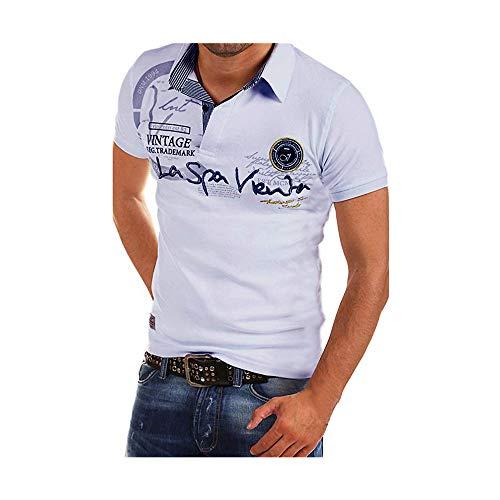 Celucke Polohemd Besticken Poloshirt Herren Mit Coole Print, Männer Polo Hemd Shirt Kurzarm Basic T-Shirt Freizeit Polohemden Kurzarmhemd Herrenhemden Sweatshirt Kurzarmshirt (Weiß,M)