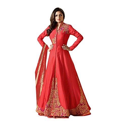 Durga Emporio Red Silk Bridal Wear Anarkali Suit Dress Material
