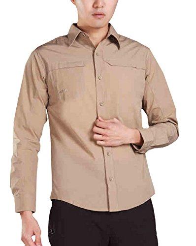 ikrr Herren Long Sleeve Button-Down Shirt Quick Dry Camel