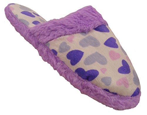 Chaussons pantoufles Fantaisie motif cœur -femme Violet