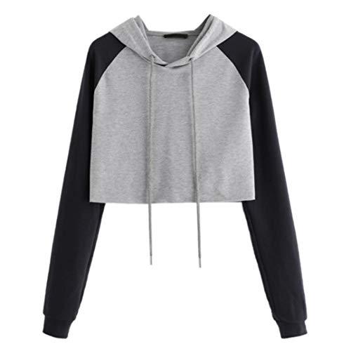 OYSOHE Damen Sweatshirt Patchwork Solide Langarm Pullover mit Kapuze Tops Shirt