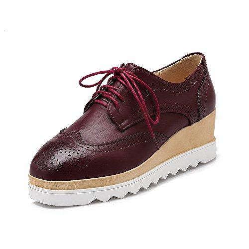 VogueZone009 Damen Mittler Absatz Schnüren Weiches Material Quadratisch Zehe Pumps Schuhe Rot
