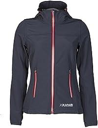 Planam Damen Sofshell Jacke Winter Unit, größe XS, schiefer / rot / mehrfarbig, 3736040