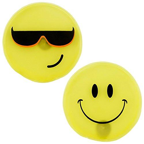 Taschenwärmer 2er Set Handwärmer - gelbe Smileys rund - Heizpad Firebag