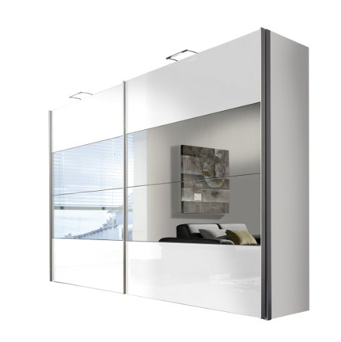 Express Möbel Schwebetüren Schlafzimmerschrank mit Spiegel 300 cm Weiß Lack, Korpus Polarweiß, 2-türig, Art Nr. 47605-203