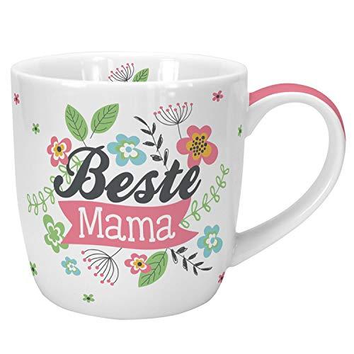 Die Geschenkewelt  45634 Cappuccino-Tasse mit Design Beste Mama, Porzellan, 40 cl, mit Geschenk-Banderole, Geschenk Mama - Kaffee-tisch-bücher Pink