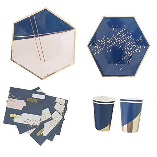 Polka Dot Sky Gold und Blau Folie Geburtstagsfeier Geschirr Packung Papier Teller Becher Servietten Leuchtende Farben 8-Pack (32-tgl.)
