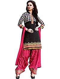 Exotic India Phantom-Black And Pink Patiala Salwar Kameez Suit With Printed Checks And Embroidered Patch Border