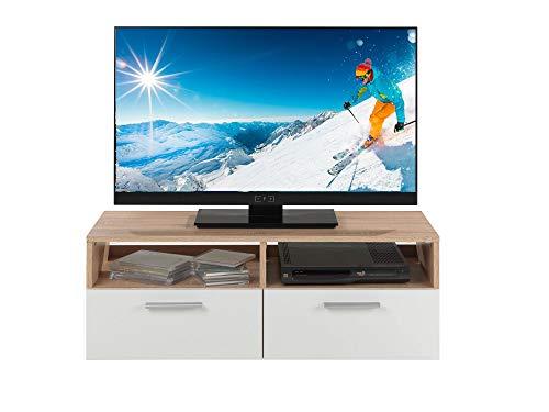 fernsehschrank holz TV-Lowboard Fernsehschrank Fernsehtisch RASANT | Eiche Sonoma | weiß | 95x35x36 cm