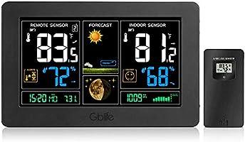 GBlife PT3378, Stazione meteorologica Wifi con sensore interno/esterno, per le Previsioni del Tempo per Casa, Ufficio...