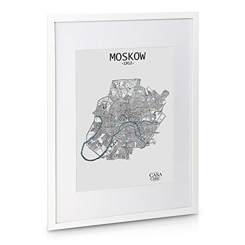 Bilderrahmen Massivholz Set–7Rahmen–Glas Fronten–mit Passepartout, Rahmen breite 2cm–Weiß